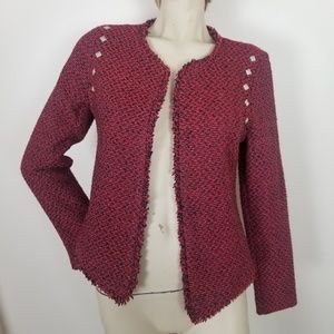 Monteau open front tweed blazer with frayed trim